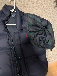 polo ralph lauren down puffer vest quilted navy blue medium jacket w/hood