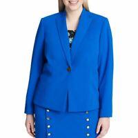 CALVIN KLEIN Women's Blue Plus Size Crepe One-button Blazer Jacket Top 22W TEDO