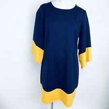 Kim Rogers Bell Sleeves Blue Mustard  Dress. Size Extra Large Petite. NWT.