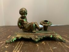 1961 Mid Century Hollywood Regency Ornate Brass Sitting Child Desktop Pen Holder