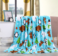"New Ultra Cozy & Soft Christmas Holiday Pals Plush Warm Throw Blanket 50"" x 60"""