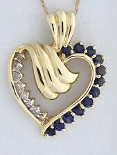 Natural Sapphire with Natural Diamond Heart Pendant Solid 10kt Yellow Gold