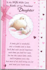 To My Wife On The Birth Of Our Precious Daughter Card. Teddy Theme.
