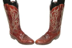 TONY MORA Brown Leather COWBOY BOOTS Mens Sz 7.5 D Hand Pegged Spain 2593 2383