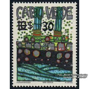 Hundertwasser Kap Verde: Vapor-Briefmarke Überdruck Mi 496 Farbvariante I