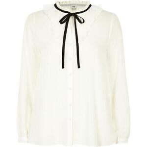 Women Ladies ex River Island cream ruffle tie neck blouse