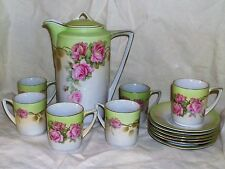 Antique Germany Chocolate Cocoa Set Pot with 6 Cups & Saucers