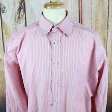 Holland & Sherry Men's Dress Shirt XXL Pink London Button Striped Long Sleeve