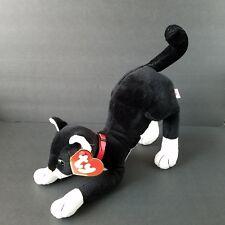 TY Classic Screech Cat Plush Black White Stretching Kitty Stuffed Toy Hang Tag