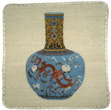 "16""x16"" Wool Needlepoint Ming Dynasty Blue Dragon Vase Pillow w Checker Cording"