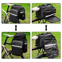 12L Expanding Bicycle Seat Rear Bag Bike Pannier Rack Pack Shoulder Carrier