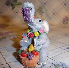 Luckyphants. Elephant holding Grapes & Basket of Fruit -  #2004  - Unique!