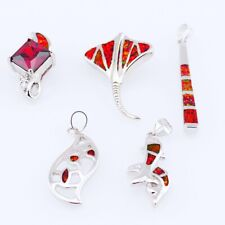 5PCS Wholesale Lots Mixed Jewelry Party Gift Silver Fire Opal Pendant  S040
