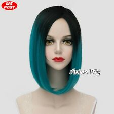 Women Lolita Medium Black Mixed Turquoise Green Straight Hair Bob Cosplay Wig