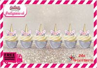 Unicorn Horn 24 Stand-Up Pre-Cut Wafer Paper Cup cake Toppers
