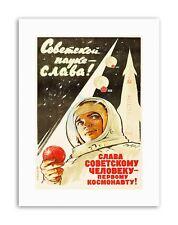 SPACE COSMONAUT ROCKET USSR GAGARIN Poster Political Canvas art Prints