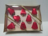 VINTAGE Spun Silk RED BELL Christmas Tree Ornaments In ORIGINAL BOX