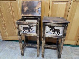 Set of 2 rustic moose endtables, nightstands, solid wood, handmade handpainted