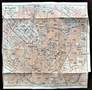 1909 BAEDEKER ANTIQUE COLOR MAP ~ MILANO (MILAN), ITALY ~ STREET ATLAS