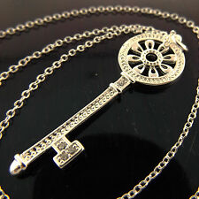 A970 REAL 925 STERLING SILVER S/F DIAMOND SIMULATED 21ST KEY PENDANT NECKLACE