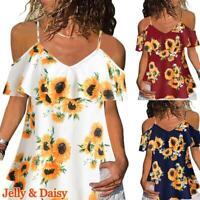 Summer Women's Sunflower Off Shoulder Tops Blouse Casual T Shirt Loose Shirt Tee