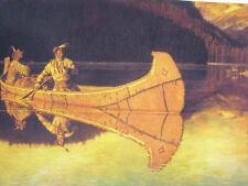 Indians Canoe Reflection A Friberg