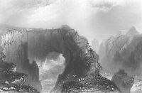 Aberdeenshire, BULLERS OF BUCHAN PETERHEAD Sea Caves ~ 1840 Art Print Engraving