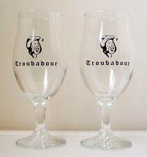 TROUBADOUR Tulip Shape BELGIAN BEER GLASSES/PAIR - Rare - 0.25 L