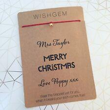 Personalised Teacher Card With Wishstring Wishbracelet Christmas Gift