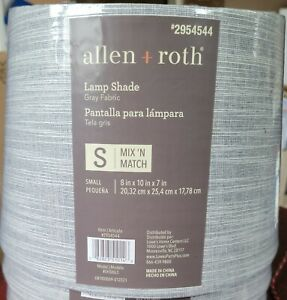 Allen + Roth Lamp Shade Gray Fabric Small Mix 'N' Match 8in X 10in X 7in #295454
