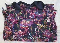 NWT VERA BRADLEY Triple Compartment Travel Bag Weekender Midnight Wildflowers