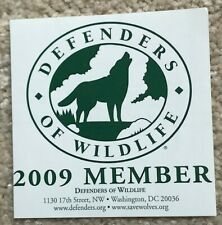 Vintage Wolf Wolves Defenders of Wildlife Member 2009 Sticker
