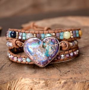 Natural Gemstone Beaded Purple Impression Jasper Heart Geode   Wrap Bracelet