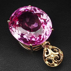 TOPAZ PLATINUM PINK OVAL 49.10 CT.SAPPHIRE 925 STERLING SILVER ROSE GOLD PENDANT