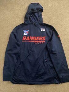 Brett Howden Player Worn 2021 Blue New York Rangers Hoodie Sweatshirt - COA - L