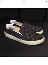 Saint Laurent PARIS-Imprimé Slip On Baskets-Bleu Marine-UK 9 Chaussures De Skate