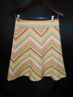 Nanette Lepore Size 0 A Line Skirt Yellow Blue Brown Green Silver Woven Knee XS