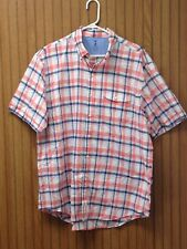 IZOD Seaside Poplin Men's Large Blue & Pink Plaid Check Shirt Button Front