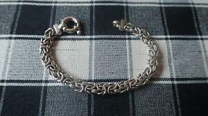 """Vintage Sterling Silver Large Byzantine Bracelet 7.75"""" x 9mm"""