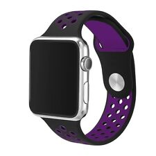 Silicone Rubber Wristband Strap For Apple i-Watch Size 38mm - Black Purple