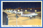 AA American Airlines Flag Ships at Ramp La Guardia Field Color Postcard