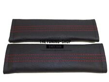 """2x Seat Belt Covers Pads Black Leather """"M3 ///"""" Red Stitching for Bmw"""