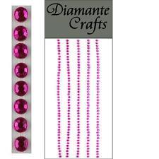 220 x 2mm Hot Pink Diamante Self Adhesive Strips Rows Rhinestone Craft Gems
