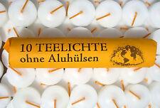 elf Rollen mit je 10 Teelichten ohne Aluhuelsen