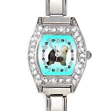 Old English Sheepdog CZ Ladies Stainless Steel Italian Charms Wrist Watch BJ1081