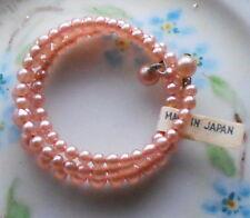 Vintage Bracelet,Pink Pearls Japan Flower Girl Easter Wire Toddler baby #976