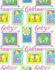 """GIFT WRAP 24"""" x 800' Welcome Baby Bright Colors (#456)"""