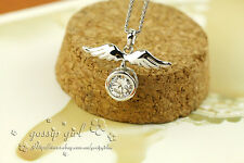 New 18K White Gold Filled Angel Wings Shiny Swarovski Crystal Pendant Necklace
