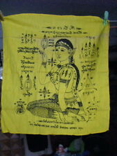 Antique Old Thai temple Cloth Buddhist Good Luck Wealth Woman Beckoning Yantra
