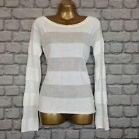 ARMANI JEANS LADIES UK 12 USA 8 WHITE DESIGNER SHEER STRIPE JUMPER RRP £150